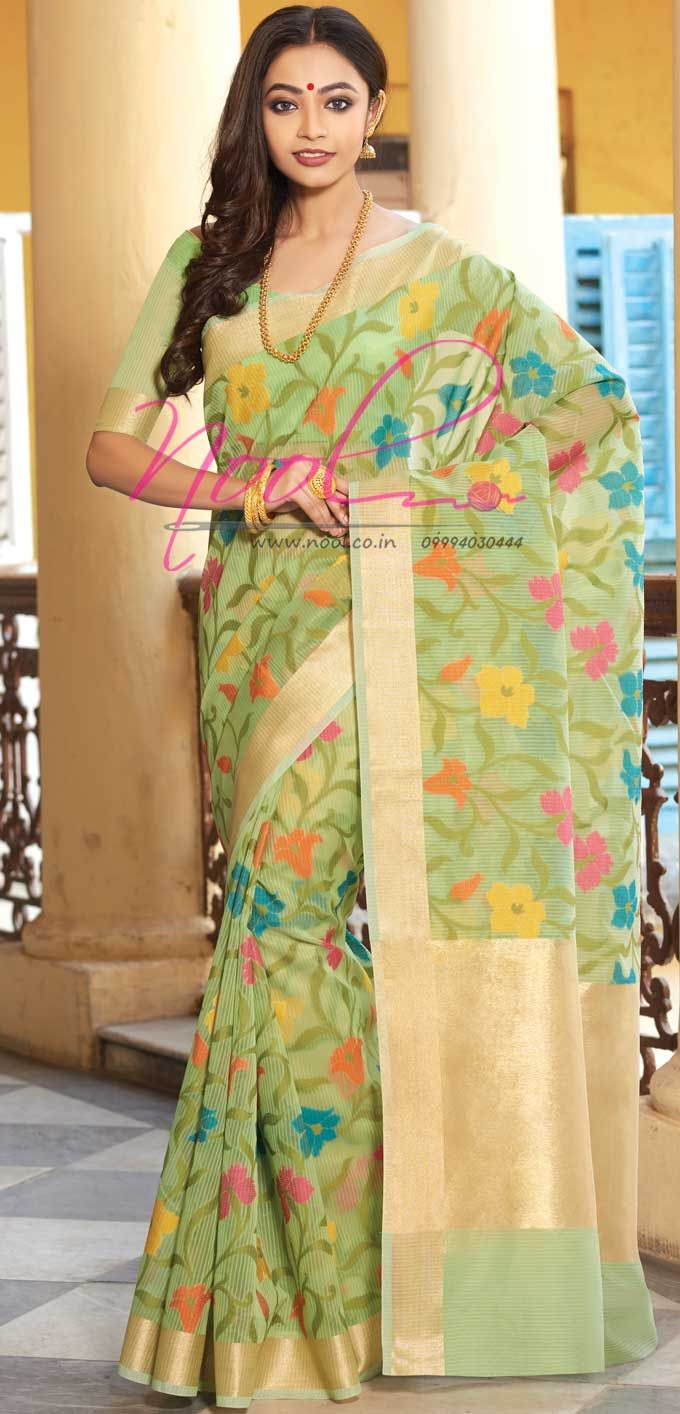 http://www.nool.co.in/product/sarees/traditional-latest-organza-moonga-silk-cotton-green-saris-online-rdc114