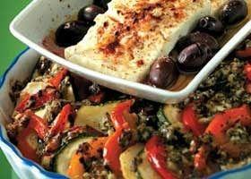 Ovenschotel van groenten met warme feta