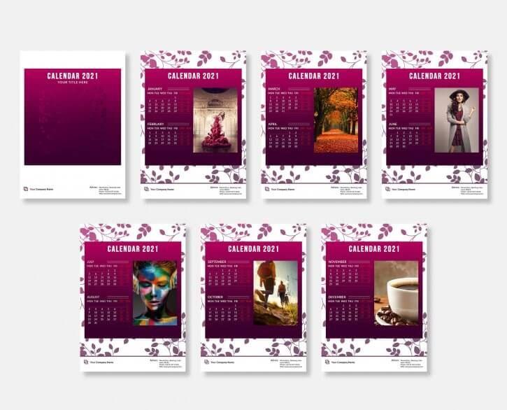 Aiden Elegant Desk Calendar 2021 Template Psd Di 2020