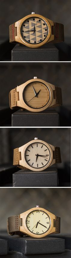 UD Wood Face Bamboo Wooden Watch with Genuine Leather Strap Quartz Analog Casual Wooden Wrist Watches, Gift for Her and Him #WoodenWatchesForMen