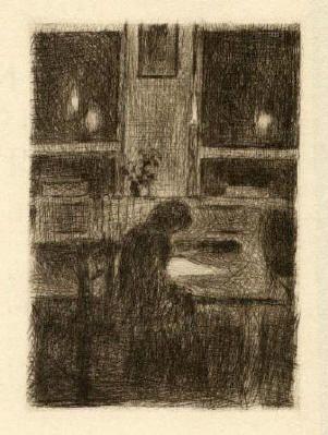 Bohuslav Reynek Dívka u stolu / A Girl at the Table suchá jehla / dry point 10,3 x 7,2 cm, 1938