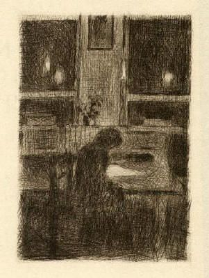 Bohuslav Reynek Dívka u stolu / A Girl at the Table suchá jehla / dry point 10,3 x 7,2 cm, 1938