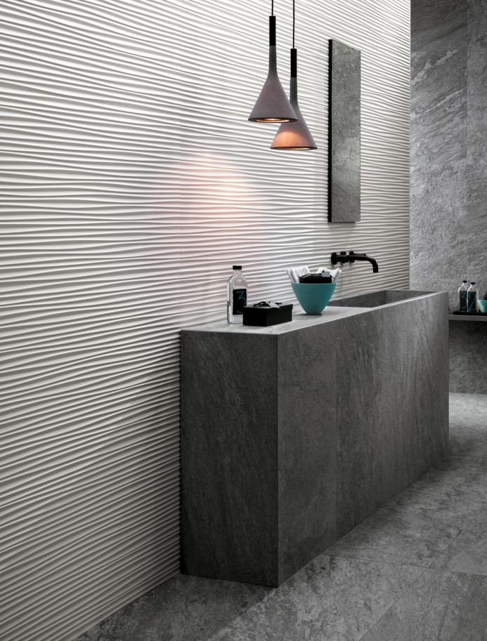 Indoor White Paste 3d Wall Cladding Flows Atlasconcorde Bathroom Design Pinterest 3d