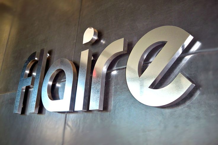 """Artsigns brushed metal material ½"""" thick business reception sign installed on sheet metal wall  #signage #idea #mirror #sign #wayfinding # donor wall #3dsignage #wayfinding #signage #signs #artsigns #artsignscom"""