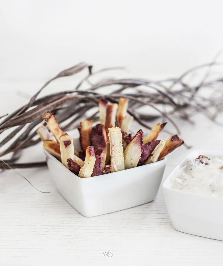 Baked sweet potato fries - Frites de patate douce blanche cuites au four