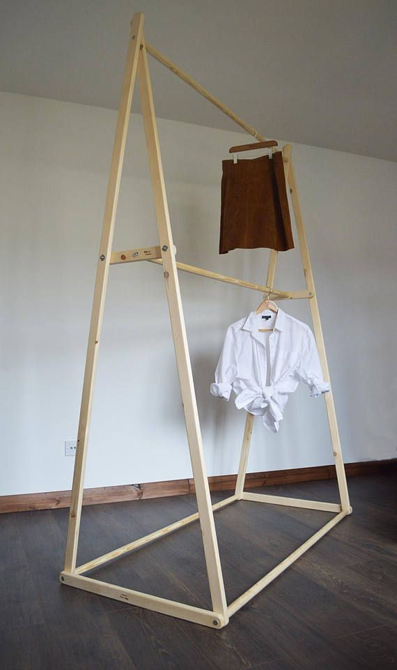 Handmade Natural Wood Double Hanging Space Clothes Rack Etsy Clothing Rack Diy Clothes Rack Wood Clothes