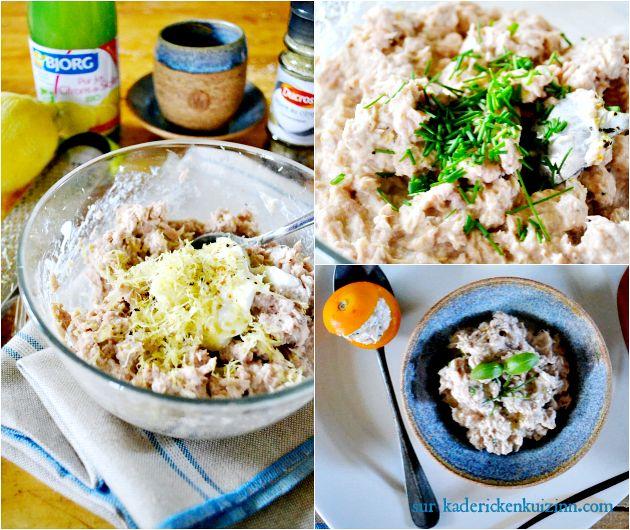 Recette tartinade - Rillettes thon au yaourt grec citron ciboulette et basilic sur kaderickenkuizinn.com