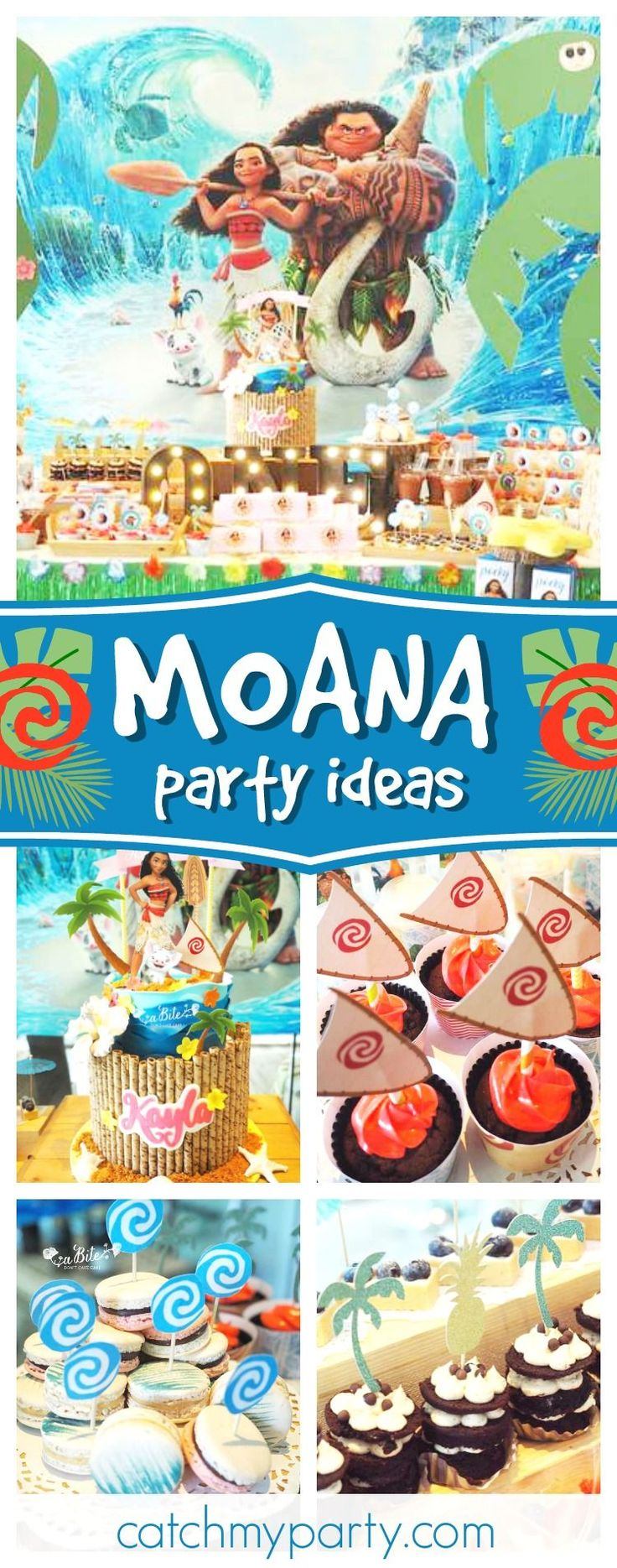 Take a look at this incredible Moana 1st birthday party! The tropical birthday cake is amazing!!  See more party ideas and share yours at CatchMyParty #catchmyparty #moanabirthdayparty #luau #1stbirthdayparty