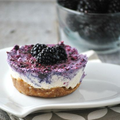 Lemon blackberry cheesecake.  Impress Your Friends With This No-Bake (And Vegan!) Dessert - mindbodygreen.com
