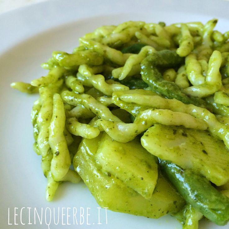 Trofie al pesto avvantaggiato, Pasta, Pesto, Patate, Fagiolini, Ricetta Vegetariana, Basilico, Liguria, Primi Piatti, Genova,