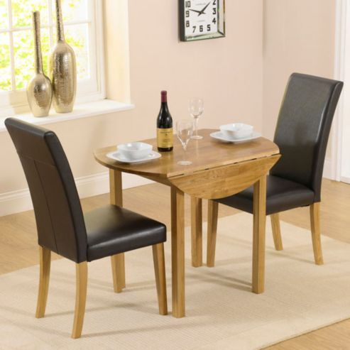 Buy Solid Oak Round Drop Leaf Table And 2 Black Chairs From Our Dining Chair Sets Range At Tesco Direct We Stock A Great Of Products