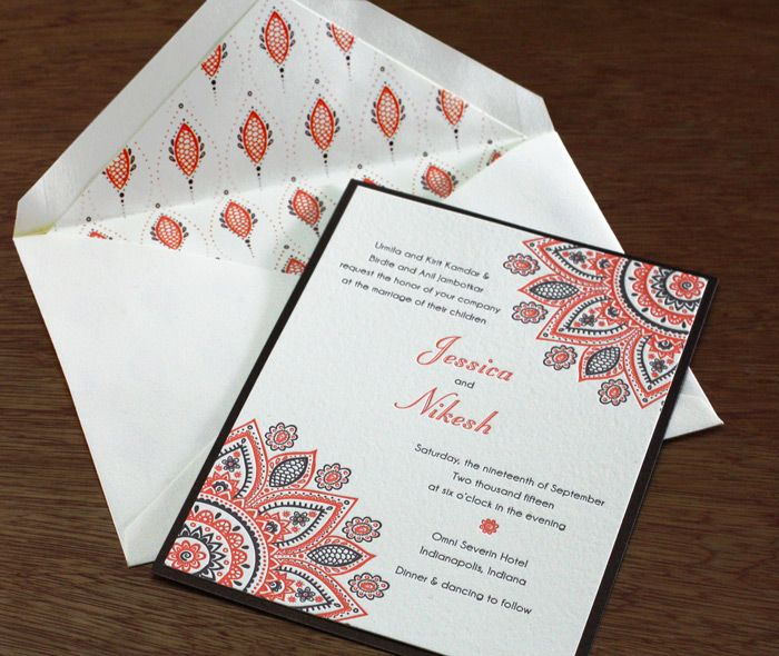 A wedding invitation in the new Wamil design with a second paper layer to detail the beautiful colors. The mandala influence can be seen clearly here. Wamil | Invitations By Ajalon | www.invitationsbyajalon.com