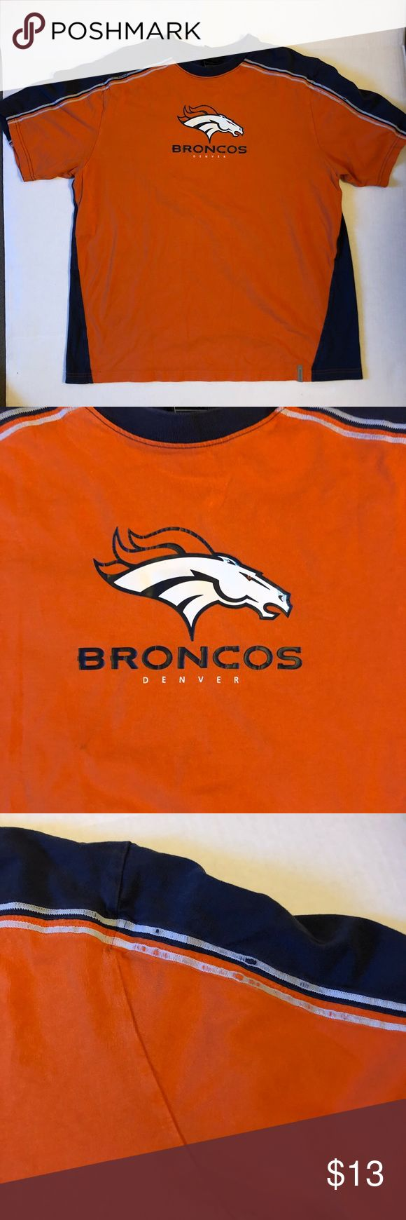 Denver Broncos NFL T-Shirt Mens XL Denver Broncos NFL T-Shirt Xtra-Large  For sale is a good condition Denver Broncos t-Shirt size men's XL. In good condition the shirt has no smells, odors and rips or tears. Does have a little wear on the shoulders.  Shirt ships out fast. Reebok Shirts Tees - Short Sleeve
