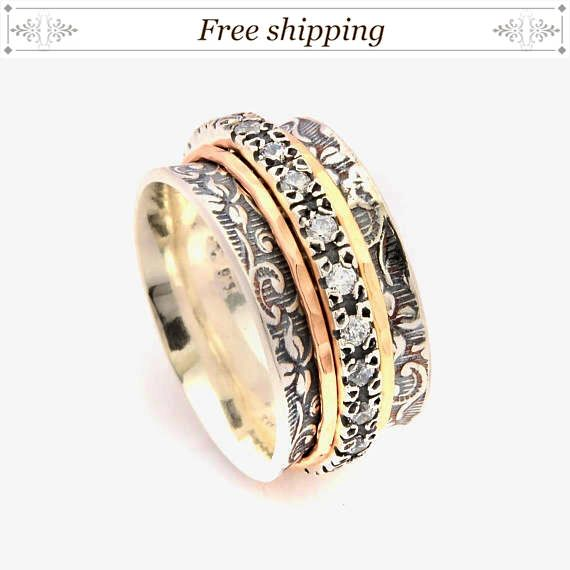 3b5c8ab61 Excited to share the latest addition to my #etsy shop: Spinner rings for  women, meditation ring, zirconia vintage rings, silver fidget ring, multi  stone ...