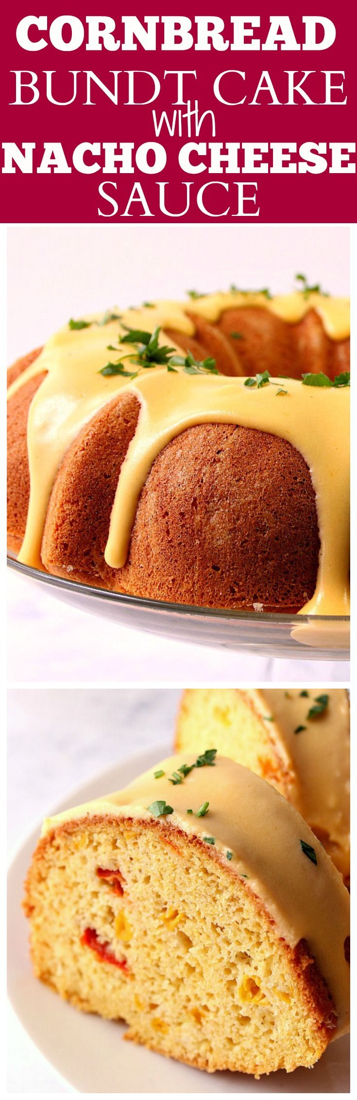 Cornbread Bundt Cake with Nacho Cheese Sauce Recipe - savory cornbread with peppers and corn baked in a bundt cake and glazed with nacho cheese sauce. Completely unexpected side dish!