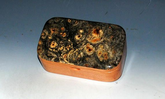 Wooden Trinket Box - Wood Box of Buckeye Burl on Cherry - Desk Box Gift Box Business Card Box - Handmade Box Jewelry Box Box With Lid by BurlWoodBox