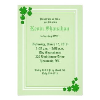 st partrick wedding invitations | St Patrick's Day and Irish Theme Party Planning, Ideas, and Supplies