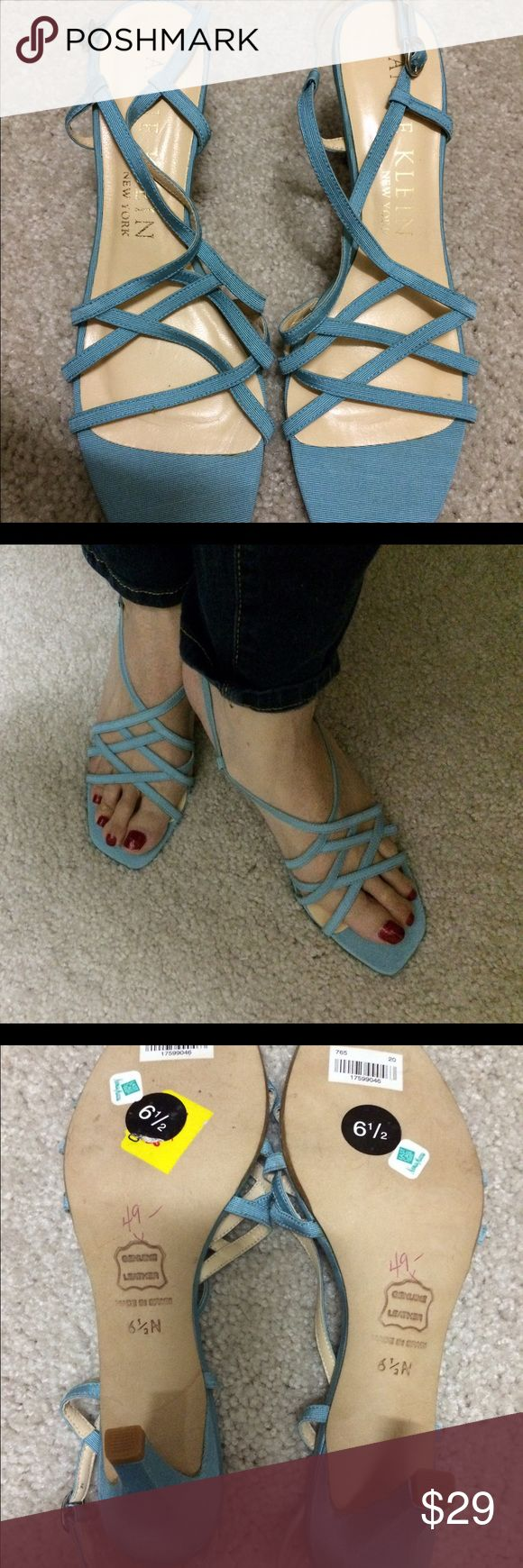 Anne Klein BRAND NEW sandals! Anne Klein New York Pale blue fabric strappy sandals, leather soles, approx 2.5 inches tall, Brand New, from Neiman Marcus. Anne Klein Shoes Sandals