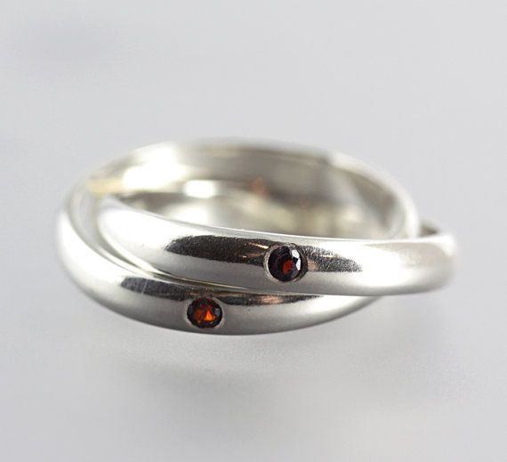 by Sarah Hood - Russian Wedding Rings - Silver Wedding Ring - Garnet Ring - Rolling Rings - Puzzle Rings - Size 6.5 - READY TO SHIP