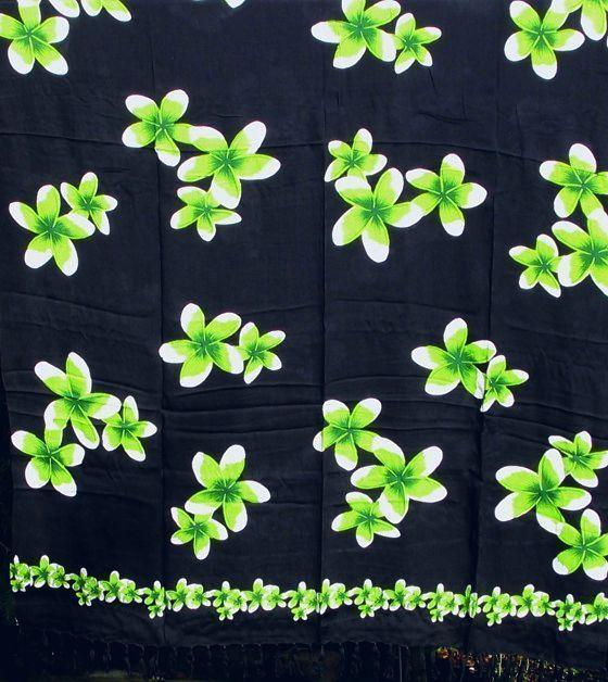 Great BL TEN SARONG PAREO Strandtuch Wickeltuch schwarz gr n H fttuch Wickelrock Blume in Kleidung u Accessoires Damenmode