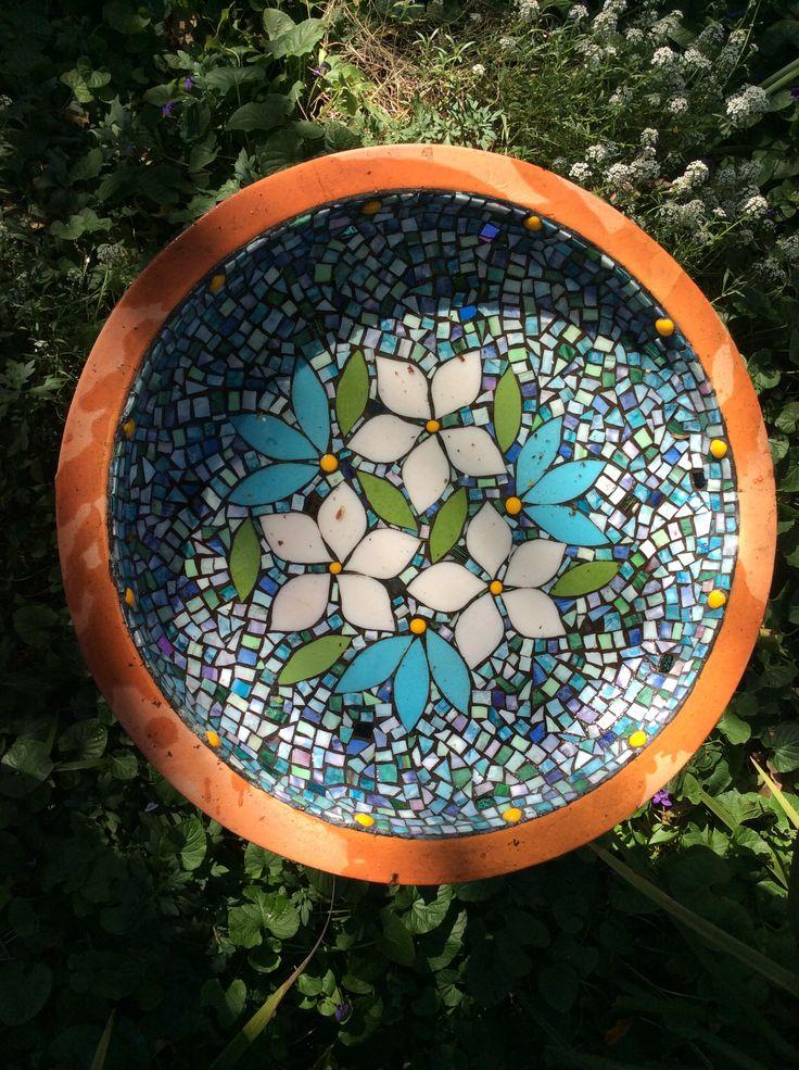 Glass mosaic bird bath. Made and designed by Gai Strakosch