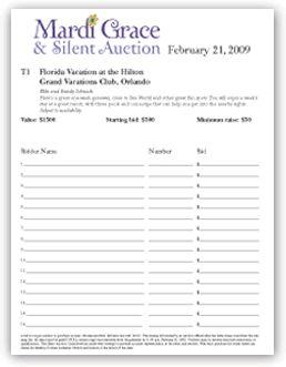 silent auction bid sheet template 574