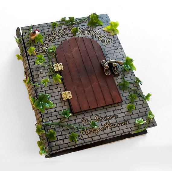 Secret safe box, hollow book - The Secret Garden book hideaway box/sculpture. Hidden compartment.