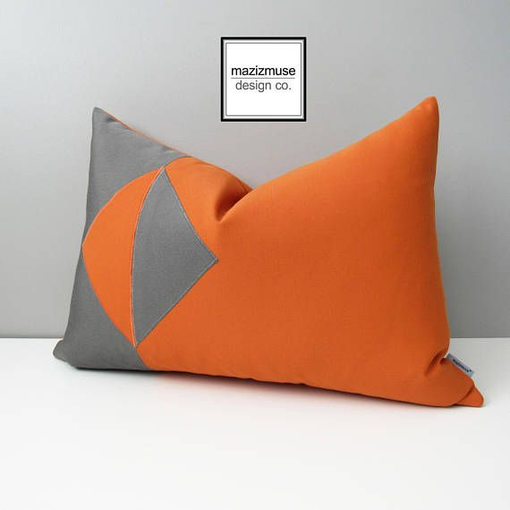 Eclipse: Modern Sunbrella pilows exclusive to Mazizmuse.com ! https://www.etsy.com/ca/listing/541064456/modern-orange-grey-outdoor-pillow-cover