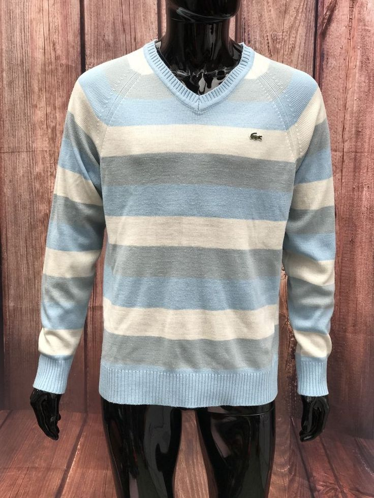 Lacoste Jumper Light Blue white Grey Stripes Pattern V-Neck Mens Casual Wear top