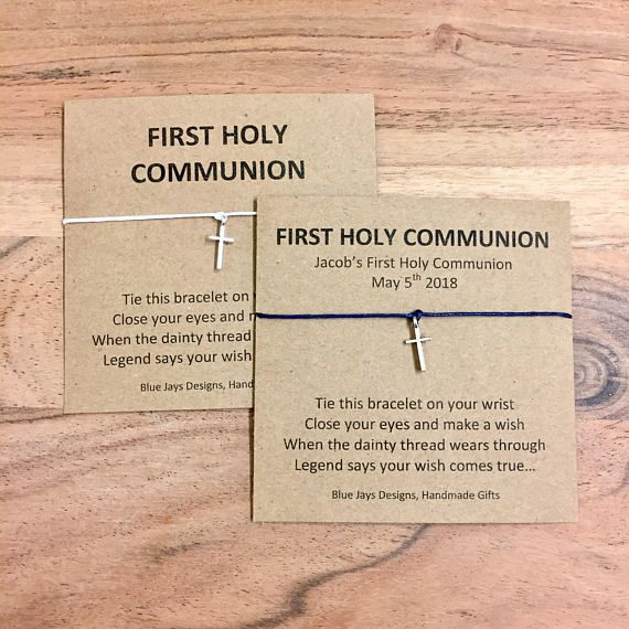 First Holy Communion favours gifts Personalised 1st Communion bracelet /& card