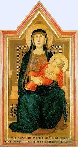 Madonna di Vico l'Abate, 1319, Museo d'Arte Sacra di San Casciano, Ambrogio Lorenzetti. Più giovane di Pietro, artista intellettuale. Schema arcaico simile alle madonne bizantine