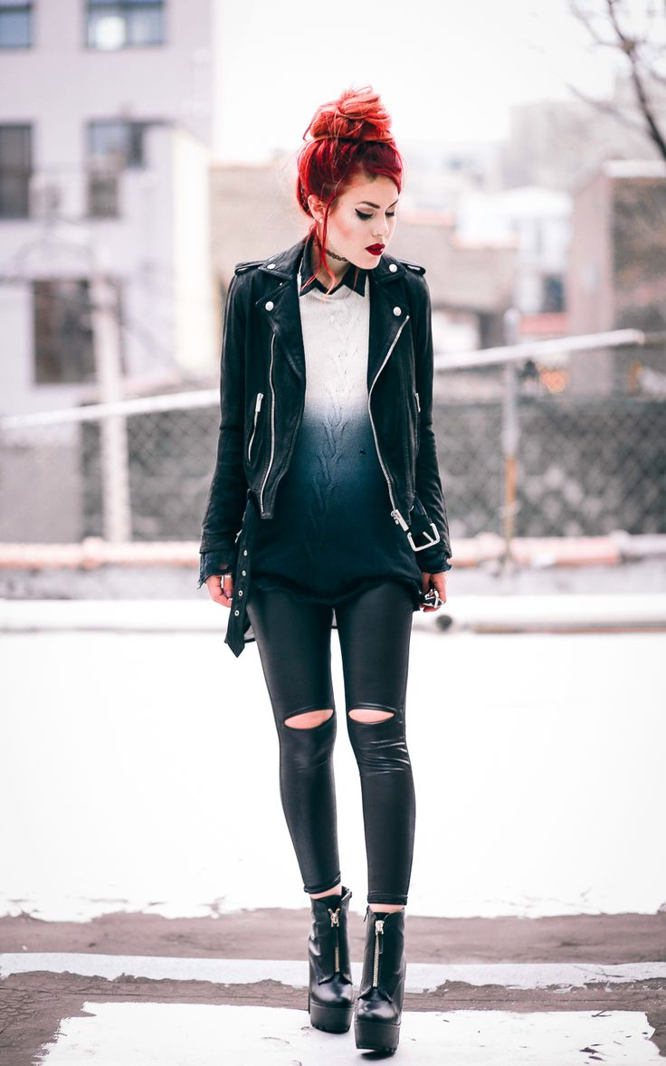 Fake leather leggings look weird, but I love the ombre sweater over a dark collared shirt. Edgy but polished.
