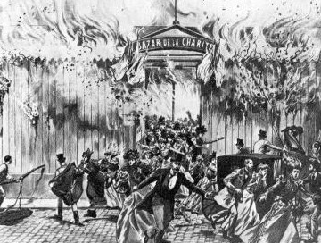 May 4th 1897, saw a horrifying fire at the Bazar de la Charité (Charity Bazaar), killing 126 people. The Cinematograph was blamed for the fire.