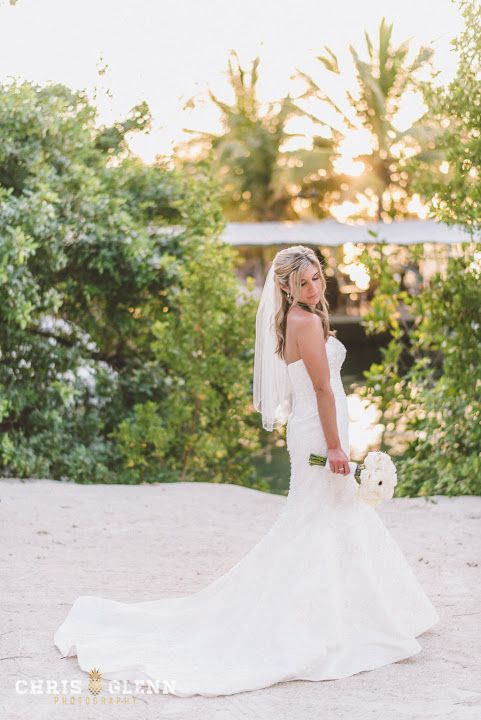 Lovely Stunning wedding gown At Key Largo Lighthouse Beach Wedding Venue in the Florida Keys