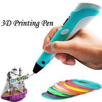 Бесплатная Доставка 3D Ручка 2-го Поколения СВЕТОДИОДНЫЙ Дисплей DIY 3d-принтер ручка С 100 м НОАК/ABS Накаливания Искусство 3d Ручки Для Детей Рисунок инструмент