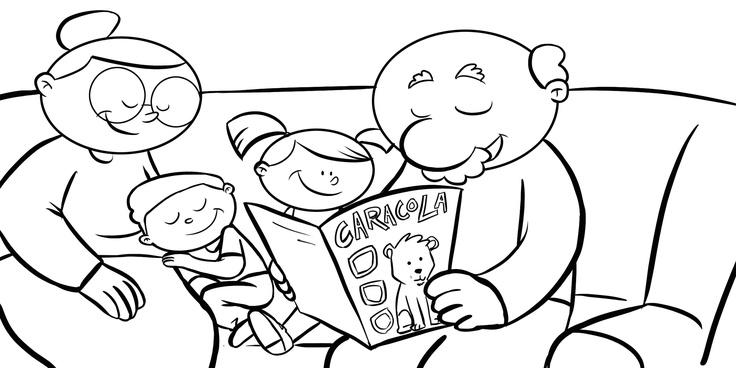 Dibujos con niños: Colorear abuelos leyendo la revista Caracola a sus nietos