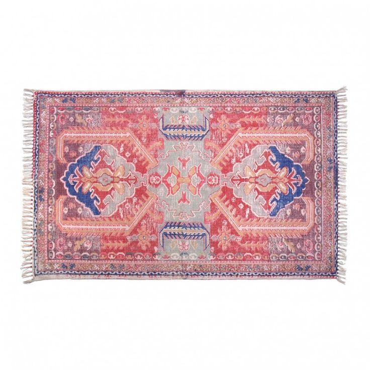 Matta kelimmatta vardagsrumsmatta i vintagestil Boho Chic stil rosa grön matta