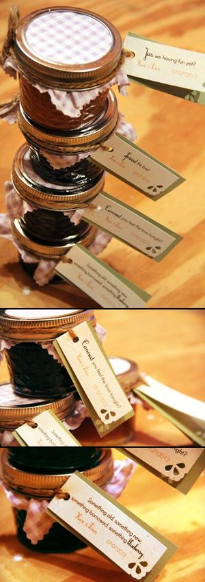 Wedding favors - jams hand made by bride's mom - tags are punny and match invitations | Amelia Street Studio