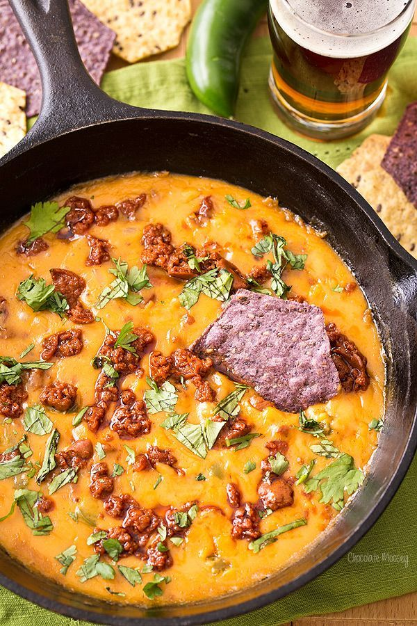 Get your fiesta started with this Mexican Beer Cheese Dip with chorizo and…
