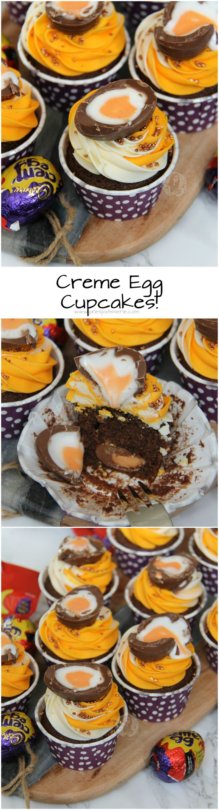 Creme Egg Cupcakes! ❤️ Chocolate Sponge Cupcakes, with a Hidden Creme Egg Centre, Multi-Tone Buttercream Frosting, and Half a Creme Egg on top… Ideal Creme Egg Cupcakes.