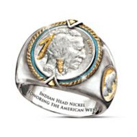 1700087001 - Indian Head Nickel Men's Sterling Silver Ring