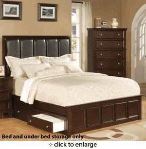 queen size platform bed with under bed storage in rich cappuccino finish - Queen Size Platform Bed