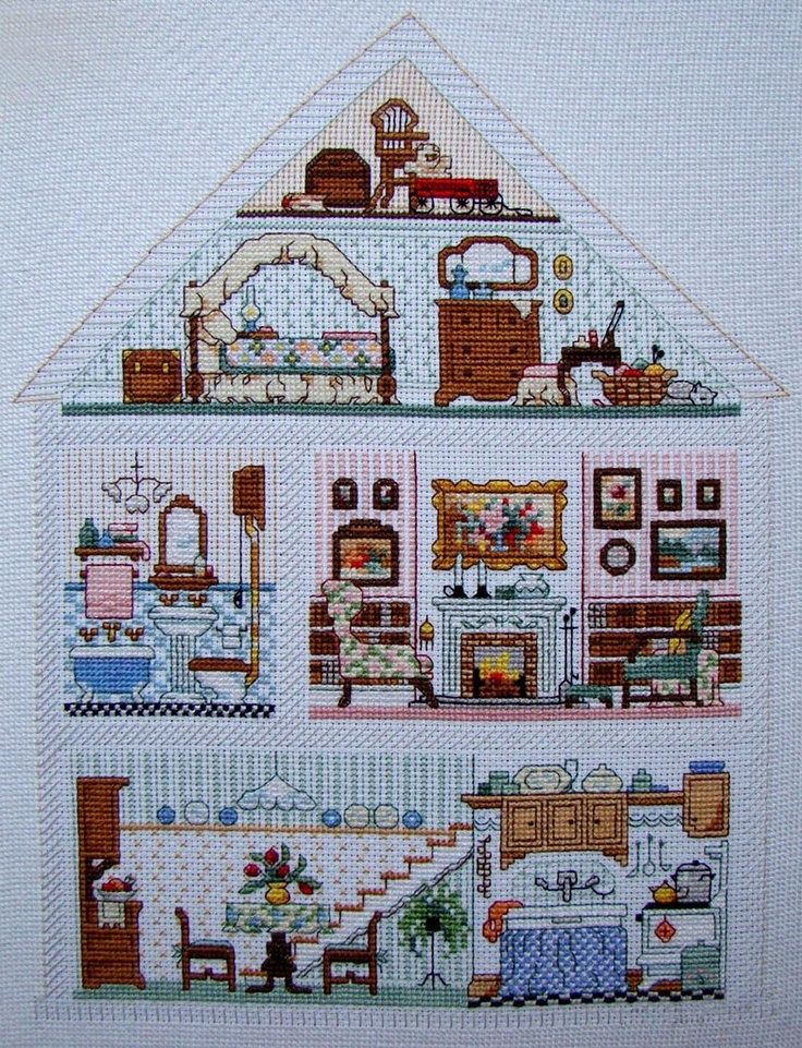 cross stitch patterns baby girl sampler | Cross Stitch Dollhouses: Doll House Hutch