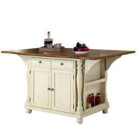 "Cherry-topped kitchen island with drop-down surface and four drawers.      Product: Kitchen island    Construction Material: Wood    Color: Cherry and buttermilk  Features:Three drawersTwo doorsTwelve bottle wine storageDrop arms      Dimensions: 36"" H x 42-66"" W x 42"" D    Note: Assembly required"