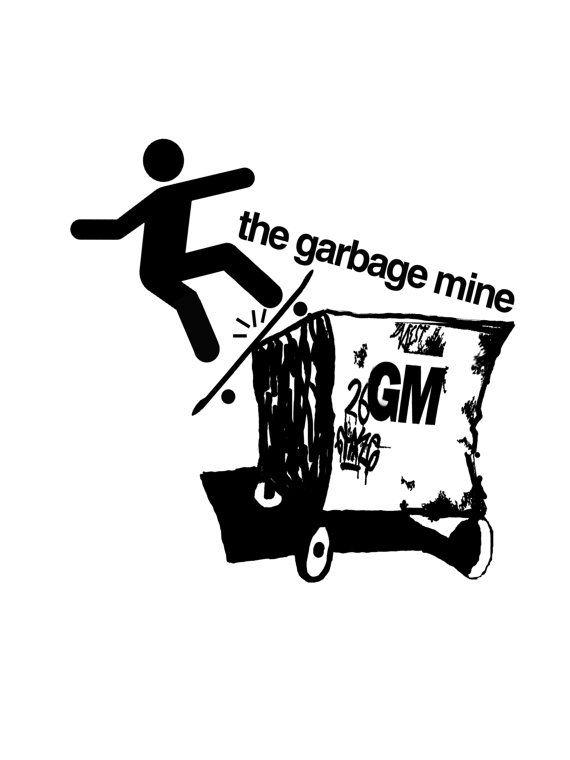 Skateboard Rail Slide off Garbage Mine T-shirt by TheGarbageMine