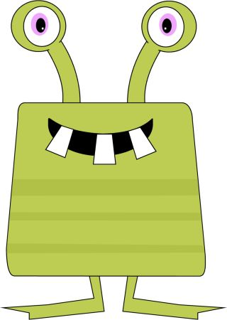 free cute monster clip art | Silly Monster Clip Art Image - green striped monster with two big ...