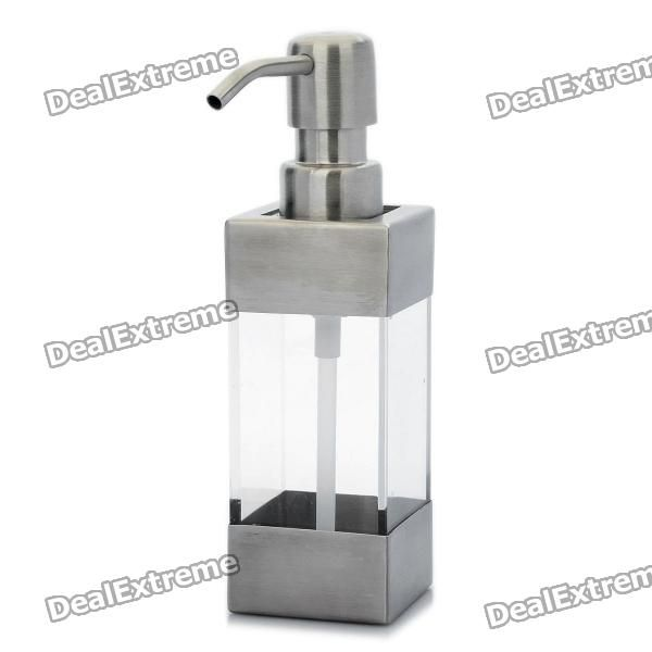Color: Silver + transparent - Material: Stainless steel + Acrylic - Capacity: 220ml - Dispenses a desired amount, no drip, no waste, no mess - Easy to fill liquid soap, sanitizers, shampoo, conditioner and other lotions - Perfect for bathrooms and kitchens in homes, offices, boats, cottages etc. http://j.mp/1lkxuag