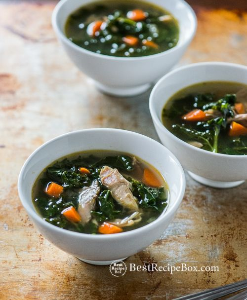Healthy Turkey and Kale Soup Recipe - Easy 30 minute, low carb recipe.