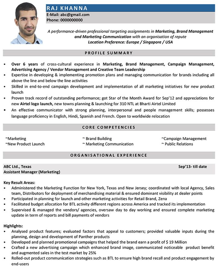 Image result for cv format cv Marketing resume, Manager resume