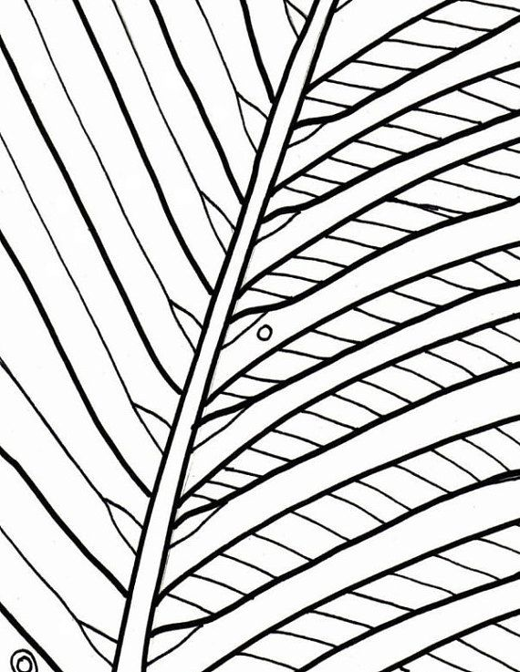 Palm Tree Coloring Page Beach Art Digital Download